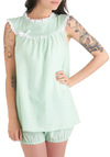 All in Good Bedtime Sleep Top - Green, White, Solid, Bows, Eyelet, Trim, Sleeveless, Long, Pastel, Cotton, Mint, Tis the Season Sale