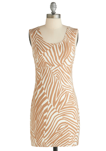Sample 1850 - Tan / Cream, White, Animal Print, Party, Sheath / Shift, Sleeveless