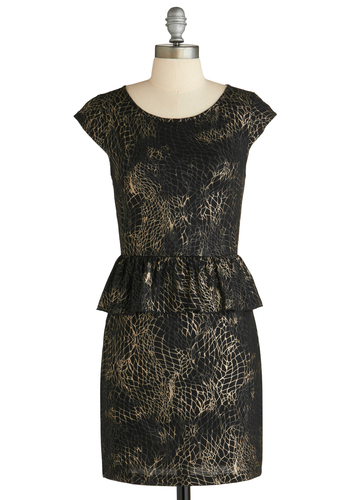 Sample 1851 - Black, Gold, Print, Cap Sleeves, Peplum, Ruffles, Party, Sheath / Shift