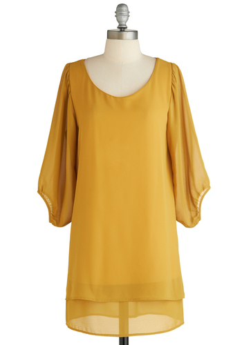 Sample 1844 - Yellow, Solid, Casual, 60s, Tent / Trapeze, 3/4 Sleeve