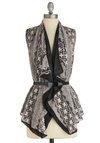 Vest of Both Worlds - White, Lace, Sleeveless, Belted, Mid-length, Black, Floral, Bows, Casual, French / Victorian