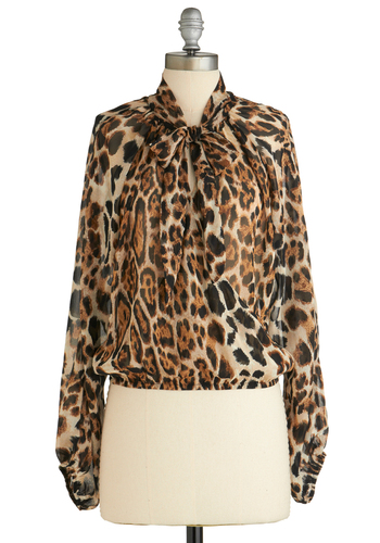 Sample 1853 - Brown, Black, Animal Print, Long Sleeve, Tie Neck