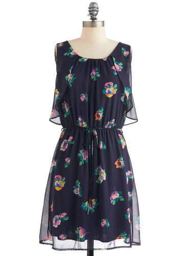 Rendezvous and I Dress - Mid-length, Blue, Multi, Floral, Ruffles, Sleeveless