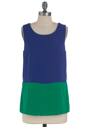 When Horizons Meet Top - Blue, Green, Tank top (2 thick straps), Casual, Mid-length