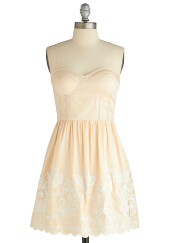 At First Dance Dress - Cream, Solid, Embroidery, Scallops, Casual, Strapless, Fit & Flare, Pastel, Cocktail, Cotton, Mid-length, Sweetheart