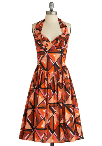 Graphic Patterns Dress - Long, Orange, Multi, Pink, Black, White, Print, Pleats, Party, Vintage Inspired, 60s, Halter, Fit & Flare, Cocktail, Cotton, Coral, Sweetheart, Tis the Season Sale