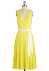 Citrus By My Side Dress by Eva Franco - Long, Yellow, Stripes, Pleats, Party, Sheath / Shift, Sleeveless, Summer, Belted, Neon, Daytime Party, V Neck, Tis the Season Sale