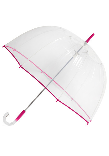 Un-teal the Clouds Clear Umbrella in Fuchsia - Pink, Spring, Variation