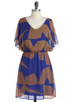 Meeting on the Quadrilateral Dress - Mid-length, Orange, Blue, Print, Ruffles, Party, Short Sleeves, Fit & Flare, Sheer, V Neck