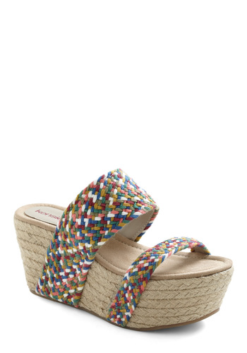 Patio on the Back Sandal - Wedge, Multi, Woven, High, Good, Braided, Summer, Platform, Mid