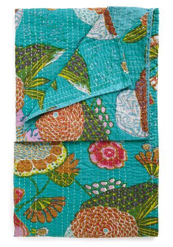 Chill in the Garden Throw by Karma Living - Multi, Floral, Quilted, Blue, Cotton