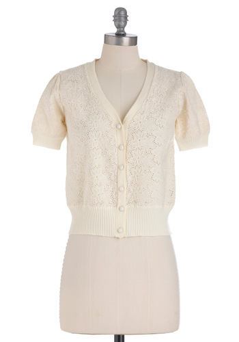 Breezeway to Go Cardigan - Cream, Solid, Buttons, Casual, Short Sleeves, Short, Eyelet, Spring, Cotton, Button Down, V Neck