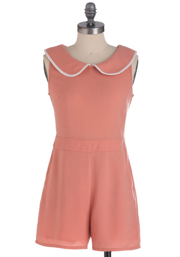 Peach for the Stars Romper - White, Solid, Peter Pan Collar, Trim, Sleeveless, Vintage Inspired, 60s, Pastel, Long, Coral