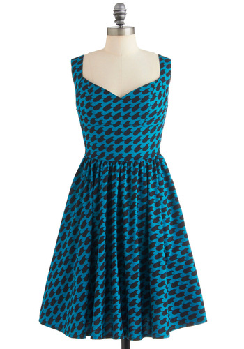 Westward Excursion Dress in Waves - Mid-length, Blue, Black, Print, Pockets, Handmade & DIY, Sleeveless, Fit & Flare