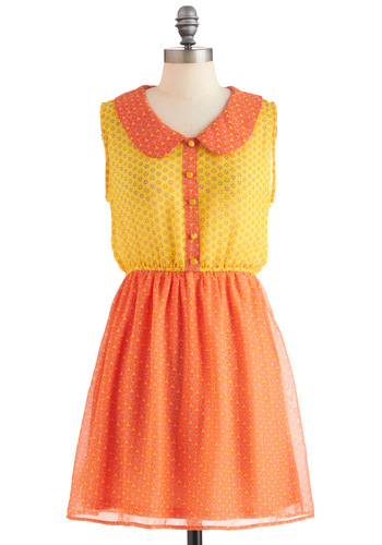 Citrus Pretty Dress - Short, Orange, Yellow, Purple, Floral, Buttons, Peter Pan Collar, Casual, Sleeveless, Summer, Fit & Flare