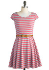 Under the Texan Sun Dress in Pink - Mid-length, Pink, Grey, Stripes, Bows, Casual, Cap Sleeves, Belted, Fit & Flare