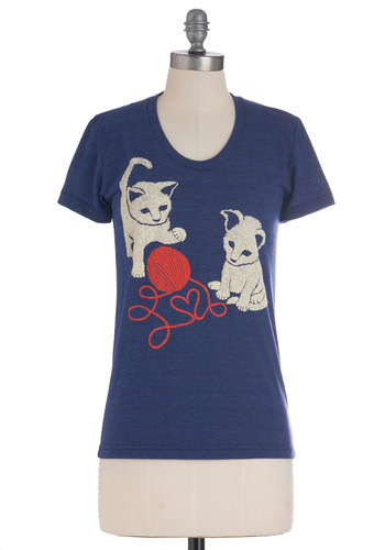 That Yarn Cat Tee - Mid-length, Blue, Red, White, Casual, Short Sleeves, Crew, Travel