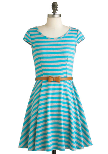 Under the Texan Sun Dress in Aqua - Mid-length, Blue, Grey, Stripes, Bows, Casual, Cap Sleeves, Spring, Belted, Fit & Flare