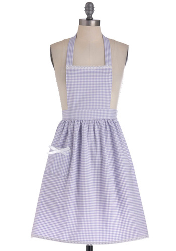 Gingham What They Want Apron - Purple, White, Checkered / Gingham, Bows, Lace, Pockets