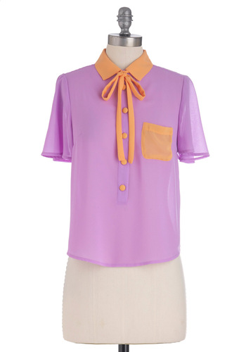 Just My Lilac Top - Mid-length, Purple, Buttons, Pockets, Short Sleeves, Tie Neck, Orange, Casual, Spring, Pastel, Button Down, Collared, Colorblocking, Tis the Season Sale