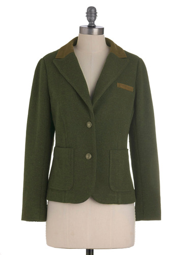 Scholar on Me Blazer - Green, Buttons, Pockets, Long Sleeve, Short, 2, Work, Casual, Menswear Inspired, Fall, Scholastic/Collegiate