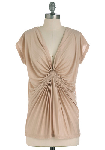 Fold Move Top - Tan, Solid, Cap Sleeves, Ruching, Pleats, Pastel, Long
