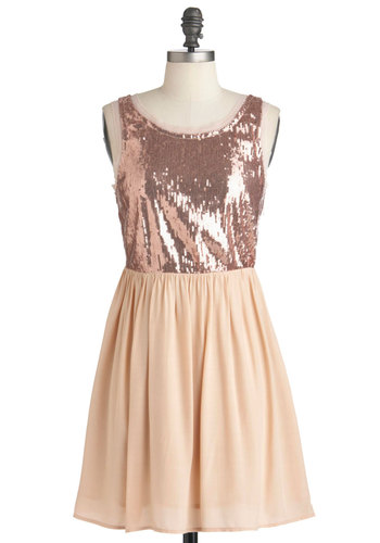 You're Blush Too Marvelous Dress - Mid-length, Tan, Solid, Backless, Sequins, Party, Tank top (2 thick straps), Fit & Flare