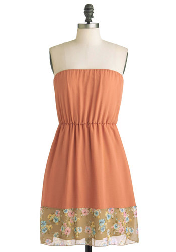 Posing with Pansies Dress - Orange, Multi, Multi, Floral, Casual, Strapless, Fit & Flare, Mid-length