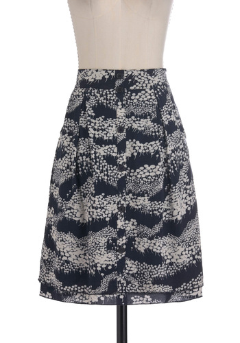 Dandelion Around Skirt - Mid-length, Grey, Buttons, A-line, Blue, Print