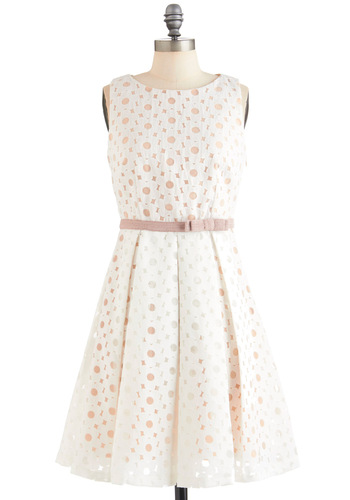 Flower Glass Dress by Eva Franco - Mid-length, White, Pink, Floral, Party, A-line, Sleeveless, Spring, Belted, Pastel, Cocktail, Fit & Flare, Tis the Season Sale