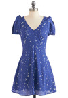 Frock of Seagulls Dress - Short, Blue, White, Print with Animals, Cutout, A-line, Short Sleeves, Fit & Flare, V Neck