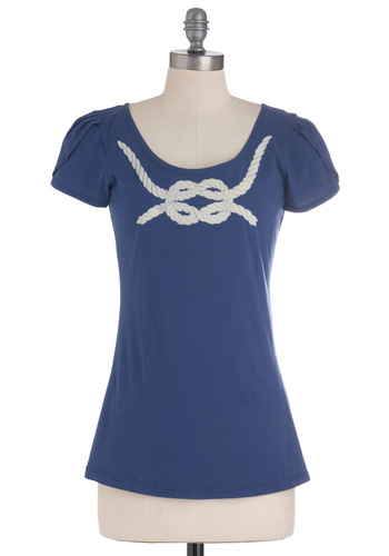 Knot to Mention Top - Blue, White, Nautical, Short Sleeves, Mid-length, Spring, Cotton
