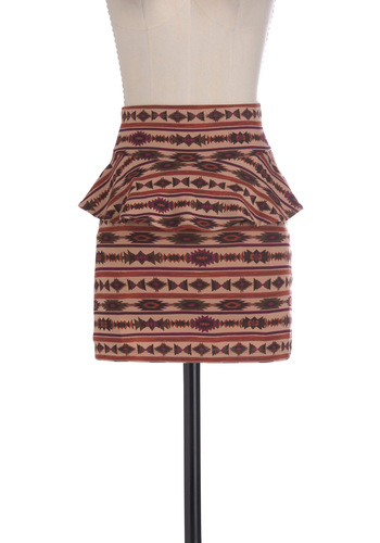Here Today, Polygon Tomorrow Skirt - Short, Brown, Red, Print, Peplum, Eco-Friendly