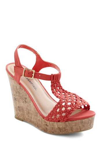 Party on the Peninsula Wedge - Wedge, Braided, 70s, High, Orange, Solid, Party, Summer
