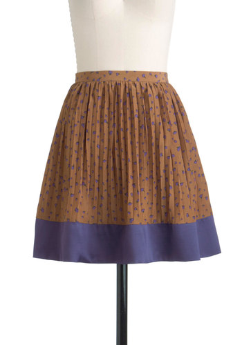 Grape to Meet You Skirt - Short, Brown, Purple, Floral, Casual, A-line, Pleats