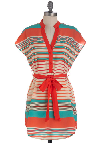 Bowling Night Tunic in Pinks - Long, Red, Green, Tan / Cream, Stripes, Buttons, Short Sleeves, Belted, Pink, Casual