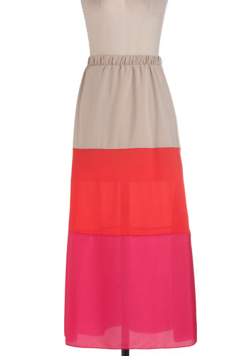 Chip Off the Colorblock Skirt - Long, Tan / Cream, Maxi, Red, Pink, Casual, Spring, Colorblocking, Tis the Season Sale