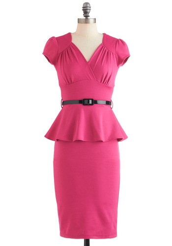 You're Such a Dahlia Dress - Long, Pink, Solid, Work, Cap Sleeves, Belted, Peplum, Film Noir, Sheath / Shift, V Neck
