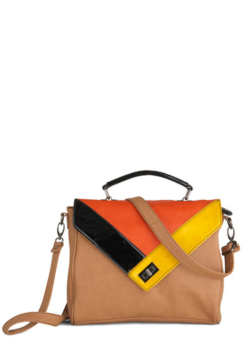 Commute As Can Be Bag - Tan, Orange, Yellow, Brown, Colorblocking