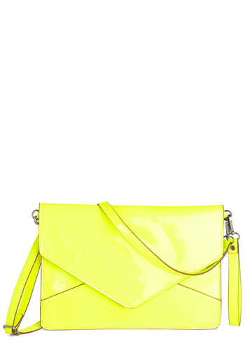 Enveloped in Style Tablet Clutch by Melie Bianco - Yellow, Solid, Summer, Neon, Girls Night Out, Faux Leather