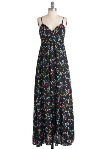 Birdsong and Dance Dress by Traffic People - Long, Multi, Blue, Pink, Black, Print with Animals, Maxi, Spaghetti Straps
