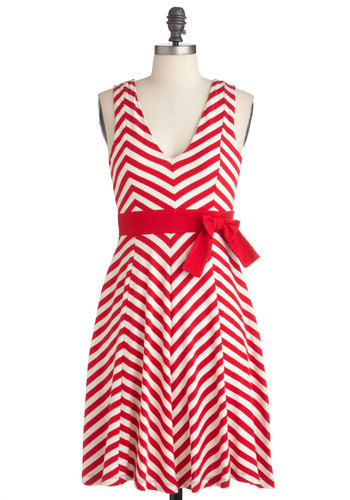 Carnival You Could Want Dress - Mid-length, Red, White, Stripes, Bows, Party, Sleeveless