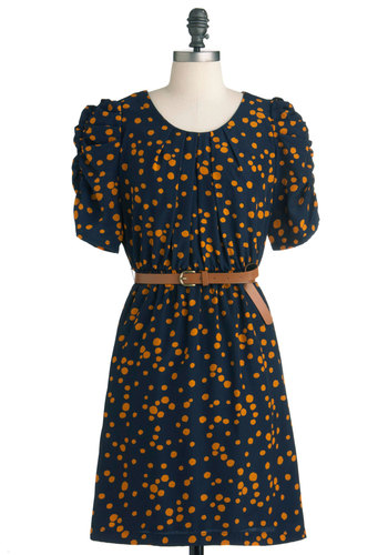 I Dapple in Art Dress - Mid-length, Orange, Blue, Print, Work, Short Sleeves, Belted, Scholastic/Collegiate