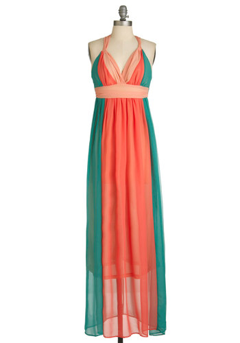 Melon Stories Dress - Long, Orange, Green, Cutout, Party, Maxi, Halter, Summer, Sheer, Solid