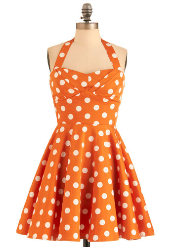 Traveling Cupcake Truck Dress in Orange - Orange, White, Polka Dots, Pleats, Party, Halter, Summer, Rockabilly, Cotton, Variation, Mid-length, Fit & Flare