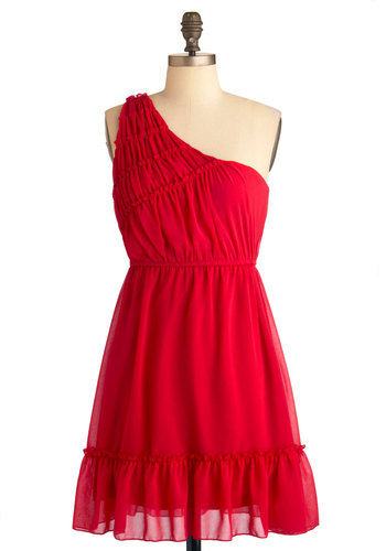Ebb and Flounce Dress - Mid-length, Red, Solid, Ruffles, Party, One Shoulder