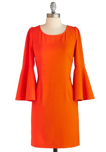 Sample 1843 - Orange, Solid, Cutout, Feathers, Party, 70s, Sheath / Shift, Long Sleeve