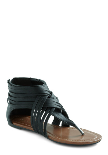 Ready to Road Trip Sandal in Black - Black, Solid, Flat, Braided, Casual, Summer