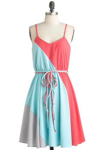 Worth a Tricolor Dress in Aquamarine - Multi, Blue, Pink, Grey, Casual, Spaghetti Straps, Summer, Mid-length, Belted, Fit & Flare, Variation