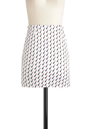 Think It Will Lipstick? Skirt by Motel - Short, Red, Black, Exposed zipper, White, Novelty Print, Statement, Girls Night Out, Bodycon / Bandage, Quirky